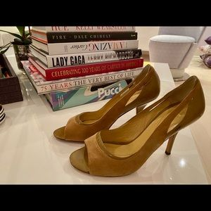 kate spade Tan Suede and Patent Leather Heels